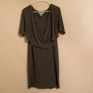 Jessica Simpson Maternity wrap front olive dress.